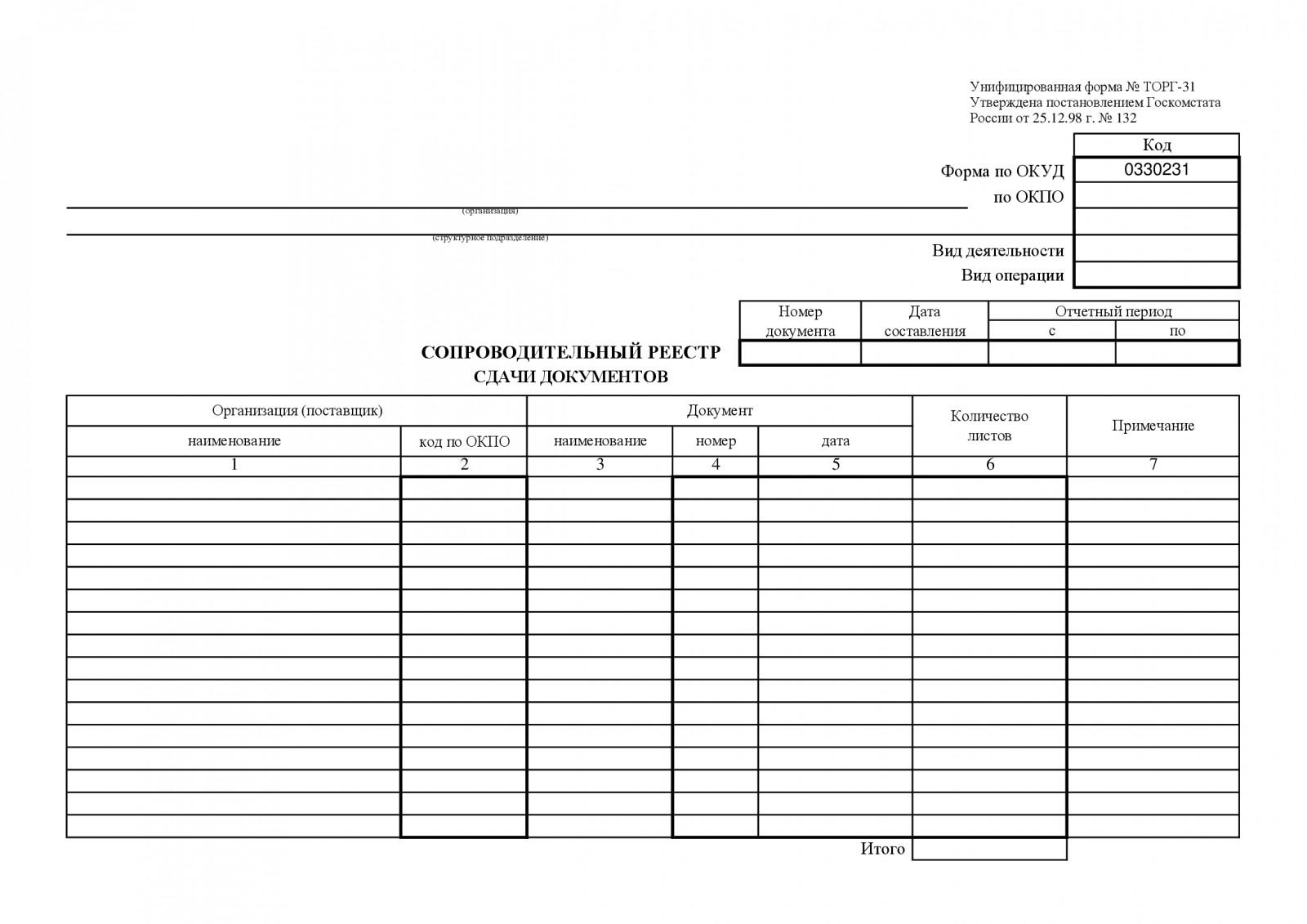 реестр сдачи документов в бухгалтерию образец