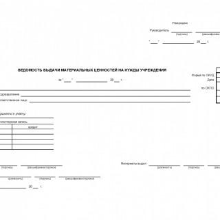 Ведомость выдачи материальных ценностей на нужды учреждения. ф.0504210