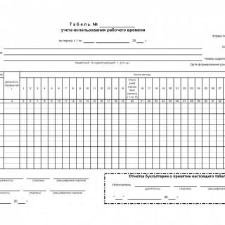 Табель учета использования рабочего времени. ф.0504421