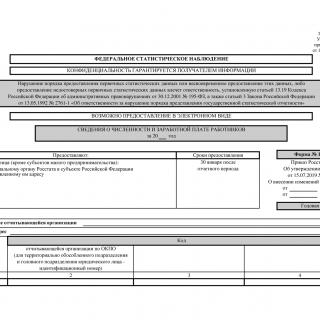 Форма 1-Т. Сведения о численности и заработной плате работников