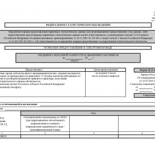 Форма П-4 (НЗ). Сведения о неполной занятости и движении работников