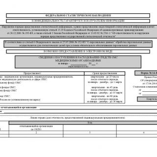 Форма 14-Ф (ОМС). Сведения о поступлении и расходовании средств ОМС медицинскими организациями