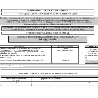 Форма 2-ОС. Сведения о выполнении водохозяйственных и водоохранных работ на водных объектах