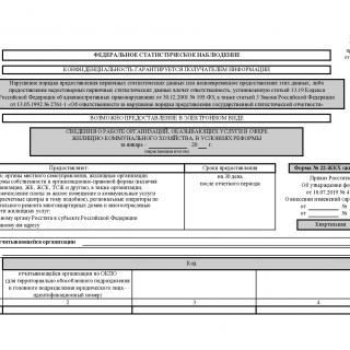 Форма 22-ЖКХ (жилище). Сведения о работе организаций, оказывающих услуги в сфере жилищно-коммунального хозяйства, в условиях реформы за 2020 год