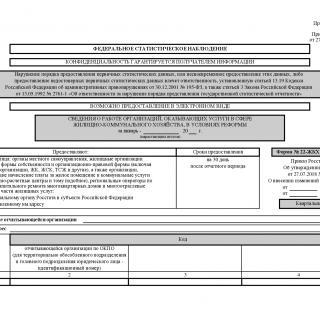 Форма 22-ЖКХ (жилище). ведения о работе организаций, оказывающих услуги в сфере жилищно-коммунального хозяйства, в условиях реформы