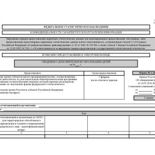 Форма 1-ДОП. Сведения о дополнительном образовании детей