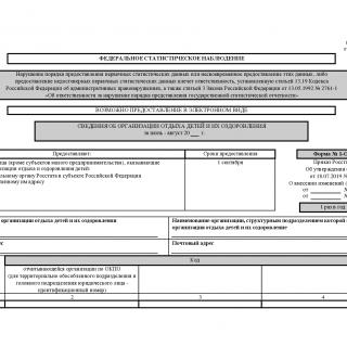 Форма 1-ОЛ. Сведения об организации отдыха детей и их оздоровления
