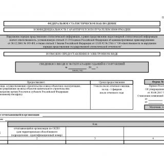 Форма С-1. Сведения о вводе в эксплуатацию зданий и сооружений