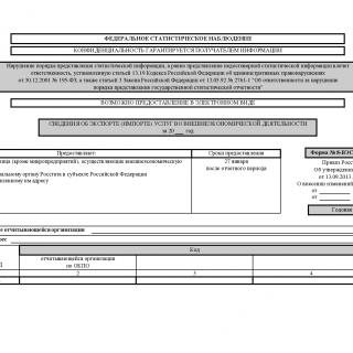 Форма 8-ВЭС (услуги). Сведения об экспорте (импорте) услуг во внешнеэкономической деятельности