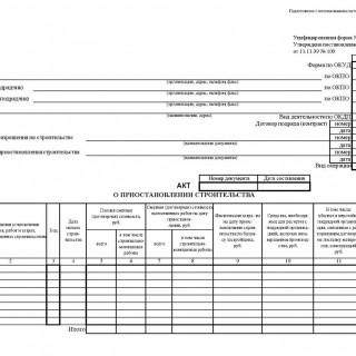 Акт о приостановлении строительства. Форма КС-17