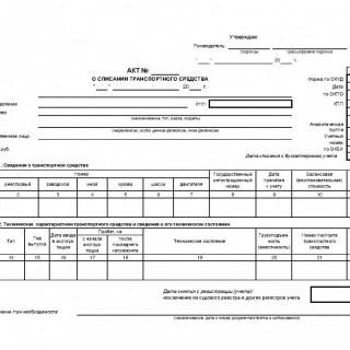 Акт о списании транспортного средства. Форма 0504105