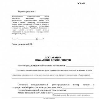 Пожарная декларация. Декларация пожарной безопасности
