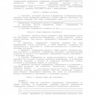 Договор о совместной деятельности