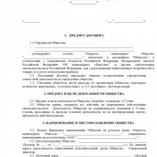 Учредительный договор о создании АО