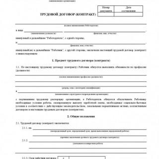 Трудовой договор (контракт). Форма ТД-1
