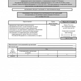Форма 1-Т (проф). Сведения о численности и потребности организаций в работниках по профессиональным группам