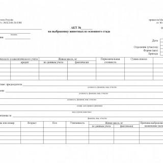 Форма 406-АПК. Акт на выбраковку животного из основного стада