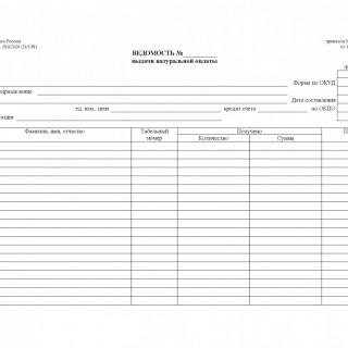 Форма 415-АПК. Ведомость выдачи натуральной оплаты