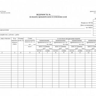 Форма 416-АПК. Ведомость на выдачу арендной платы за земельные доли