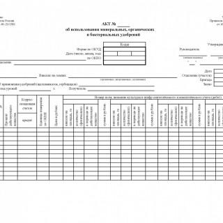Акт об использовании минеральных,  органических и бактериальных удобрений. Форма N 420-АПК
