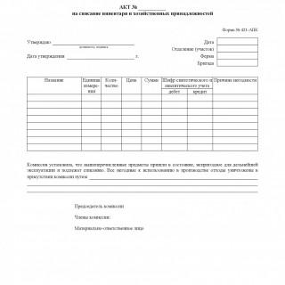 Форма 421-АПК. Акт на списание инвентаря и хозяйственных принадлежностей