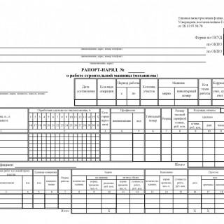 Рапорт-наряд о работе строительной  машины (механизма). Форма ЭСМ-4