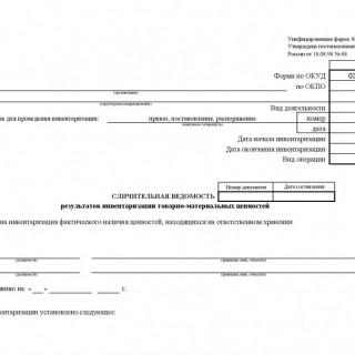 Сличительная ведомость результатов инвентаризации  ТМЦ по форме ИНВ-19.