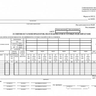 Форма ОП-15. Акт о снятии остатков продуктов, полуфабрикатов и готовых изделий кухни