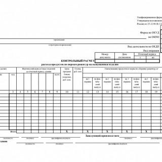Форма ОП-17. Контрольный расчет расхода продуктов по нормам рецептур на выпущенные изделия