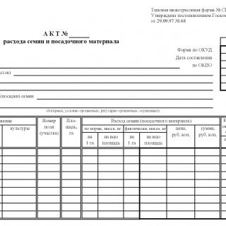 Форма СП-13. Акт расхода семян и посадочного материала