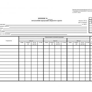 Форма СП-15. Дневник поступления продукции закрытого грунта