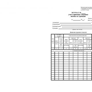 Форма СП-22. Журнал учета приемки (закупки) молока от граждан