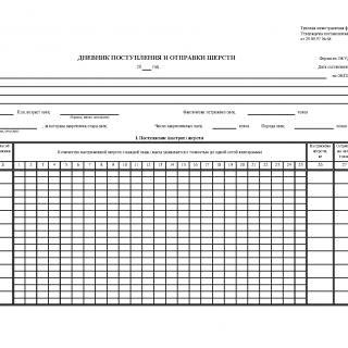 Форма СП-25. Дневник поступления и отправки шерсти
