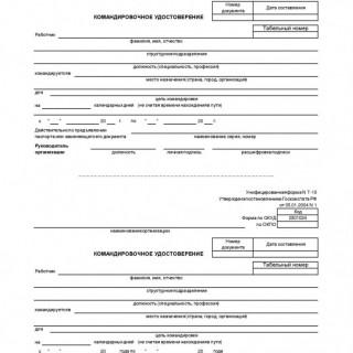 Командировочное удостоверение. Форма Т-10