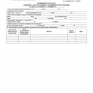 Медицинская карта пациента, получающего медицинскую помощь в амбулаторных условиях. Форма 025/у.