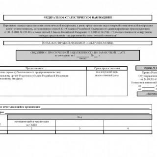 Форма 3-Ф. Сведения о просроченной задолженности по заработной плате