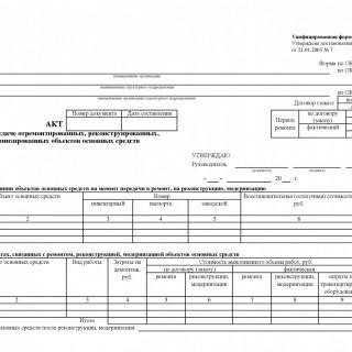 Акт о приеме-сдаче отремонтированных, реконструированных, модернизированных объектов основных средств. Форма ОС-3