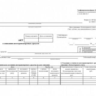 Акт о списании автотранспортных средств. Форма ОС-4а