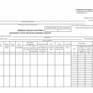 Инвентарная карточка группового учета объектов основных средств. Форма ОС-6а