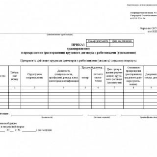 Приказ (распоряжение) о прекращении (расторжении) трудового договора с работниками (увольнении). Форма Т-8а