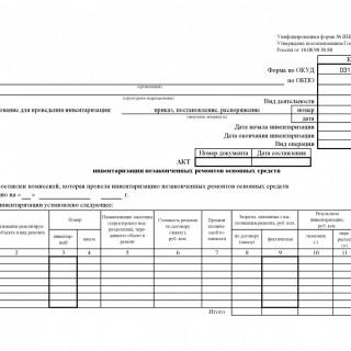 Акт инвентаризации незаконченных ремонтов основных средств. Форма ИНВ-10