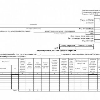 Акт инвентаризации расходов будущих периодов. Форма ИНВ-11