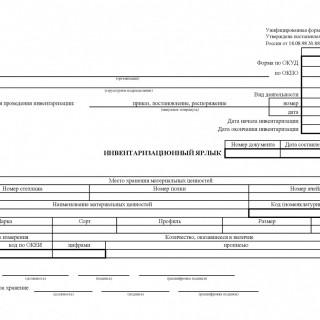 Инвентаризационный ярлык. Форма ИНВ-2