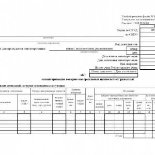 Акт инвентаризации товарно - материальных ценностей отгруженных. Форма ИНВ-4