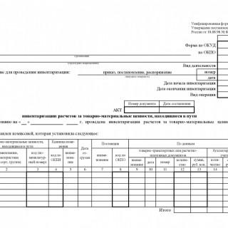 Акт инвентаризации товарно - материальных ценностей, находящихся в пути. Форма ИНВ-6