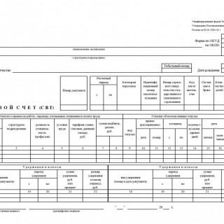 Лицевой счет (свт). Форма Т-54а