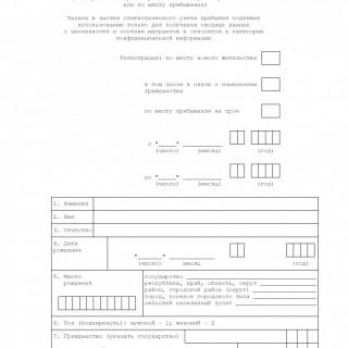 Листок статистического учета прибытия. Форма N 12П