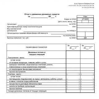 Отчет о движении денежных средств - Форма 4. за 2019 год
