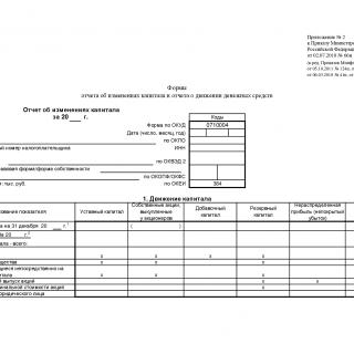 Отчет об изменениях капитала - Форма 3 за 2019 год