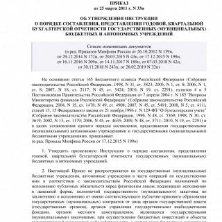 Приказ Минфина России от 25.03.2011 N 33н (ред 28.02.2019)